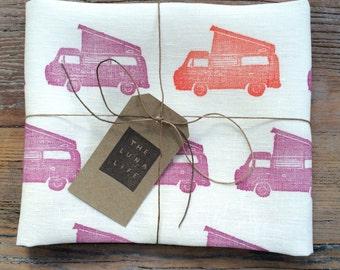 """100% Linen Volkswagen Colourful """"Westfalia"""" Campervan Hand Printed Luxury Kitchen Tea Towel"""