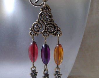 """triskel and multicolored pearls"" earrings"