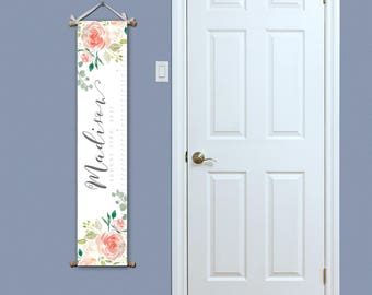 Growth Chart - Watercolour Nursery - Growth Chart Ruler - Personalized Growth Chart - Watercolour Flowers - Christmas Gift for Baby