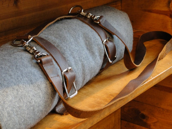 Stone Oiled Leather Blanket Carrier Yoga Mat Strap Does Not
