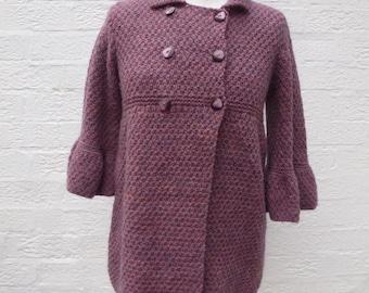 Mädchen Mantel handgemachte 80er Jahre Kleidung Vintage Mantel wolle gestrickt lila Kleidung Kinder Jacke Mantel Frühling Pastell Goth lila urban Wintermantel.