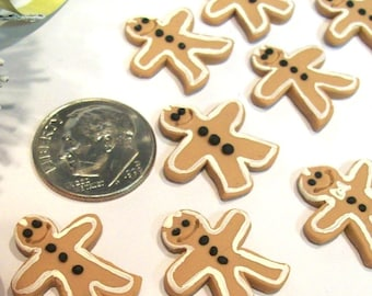 10 Gingerbread Men, Dollhouse Christmas, Holiday Cookies, Tiny Gifts, 12th Scale Ornaments, Handmade Treats, Artisan Doll Food