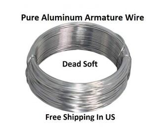 25 Ft Pure Aluminum Armature Wire Dead Soft  Coil Sizes 6 - 8 - 10 - 12 - 14 - 16 - 18 & 20 Gauges