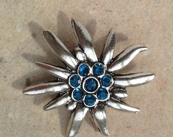Brooch Edelweiss light blue