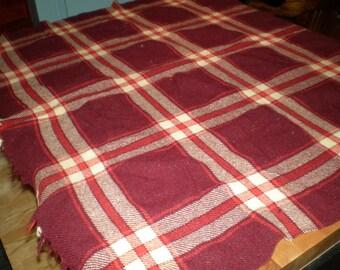 Vintage Mid Century Wool Plaid Blanket - Maroon