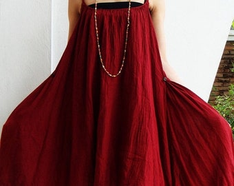 ON SALE 30% off, D10, Swan Summer Red Cotton Dress, red dress