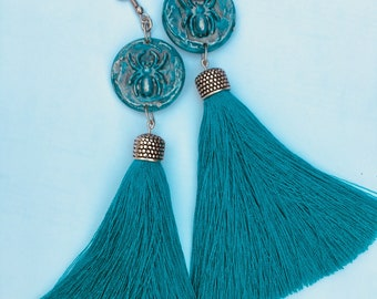 Turquoise & Silver tassel earrings with spiders