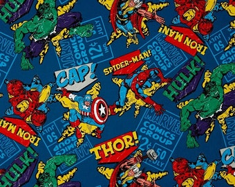 Fat Quarter Marvel Character Toss 100% Cotton Quilting Fabric Springs Fabric