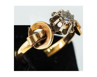 Old ring Mineralife solitaire rose gold, Platinum and diamond