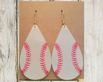 Baseball Leatherette Tear Drop Earrings