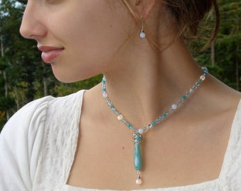 Aqua Agate & Moonstone Necklace and Earrings