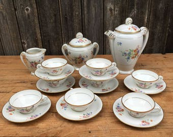 Porcelain of France, Coffee Gift, 8 Cups and Saucers, Barkeeper, Sugar bowl, Milk can 1930s, Valentine's Day Gift