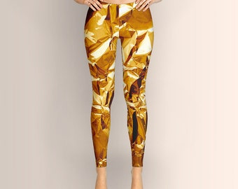 Crumpled Golden Foil, Leggings