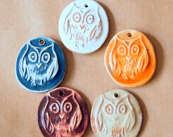 5 Handmade Ceramic Beads - Owl Pendants - Stoneware Owl Charms - Owls in Autumn Colors - Orange, Rust and Neutral Owl Pendants for Halloween