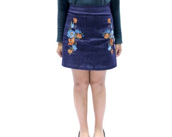 Colin Denim Embroidery Skirt