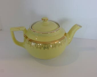 Hall Yellow Teapot, Gold Trim, Eight Cup, Vintage China Tea Pot, Large Beverage Server, Boston Style Hall China, Tea Service