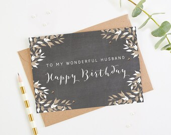 Husband Birthday Card Chalk Botanical