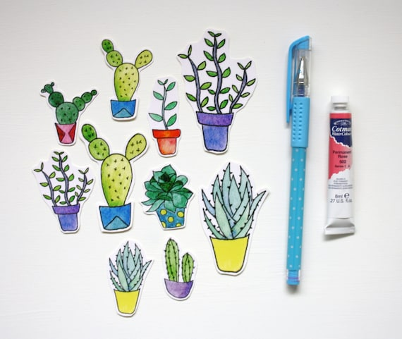 Succulent stickers cactus stickers pot plant sticker set watercolour succulents cactus illustration sticker pack hand cut stickers from worldofmik on