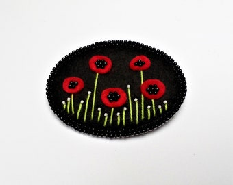 Felt Brooch with Poppies - Felt Embroidered Brooch - Poppies Brooch - Brooch for Girl - Brooch for Woman - Red Poppy - Poppy with Beads