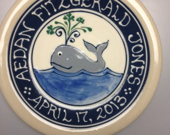 Personalized Child's Birth Plate -Baby Gift New Baby - Whale and others-Deluxe Personalized - Stoneware Pottery