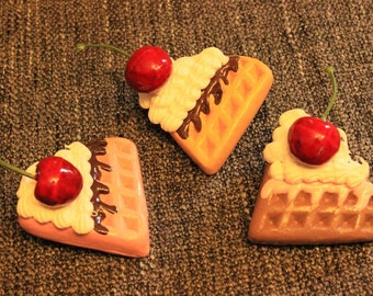 Waffle Hairclips decoden pin - cherry cream harajuku candy cake head ware