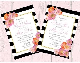 Watercolor Black and White Stripe Printable Custom Invitation, Baby Shower, Bridal Shower, Birthday, invitation