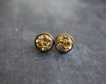 Gorgeous Gold Druzy Earrings, Bronze druzy, Studs, Boho jewelry