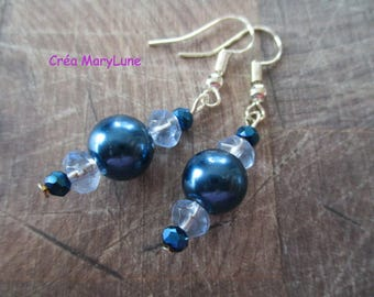 Earrings blue surgical steel hooks