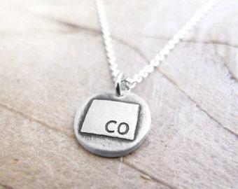 Tiny Colorado necklace, silver state charm necklace Colorado pendant
