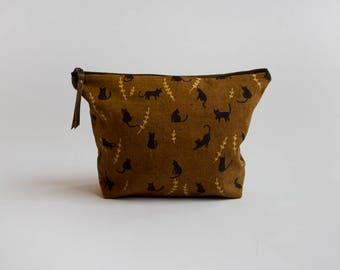 Black Cats Traveler Pouch. Project Bag. Large Pouch. Zipper Pouch.