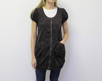 Brown Corduroy Jumper Dress  Short Brown Jumper Sarafan Ziped  Women's Bib Overalls Dress Small Size