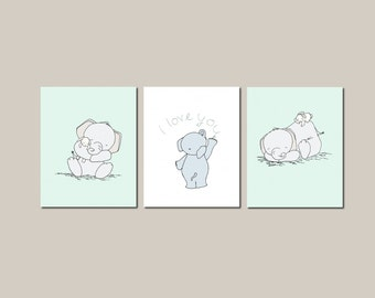 Nursery Art Prints -- Nursery Decor -- Elephant and Bunny I Love You Art -- Set Of 3 Prints --Kids Wall Art