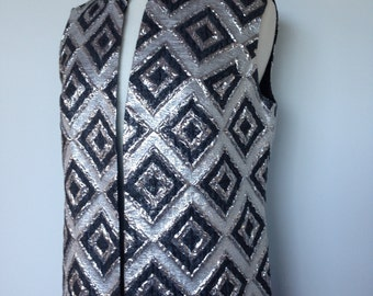 Stunning Vest Jacket / One Of A Kind Vintage / Black Silver 60s Mid Century / Evening Vest Jacket Cape / Festival Wear