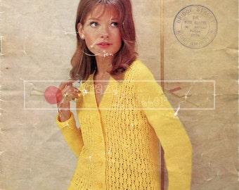 "Lady's Lace Jacket 34-40"" DK Sirdar 2333 Vintage Knitting Pattern PDF instant download"