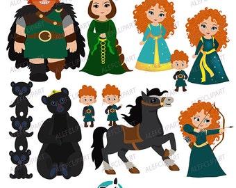 Clipart , Princess Digital Clipart, Princess Clipart, Brave Clipart, Merida Clipart