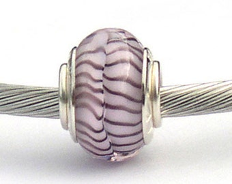 Pink & Purple Large Hole Murano Glass Beads Sterling Silver