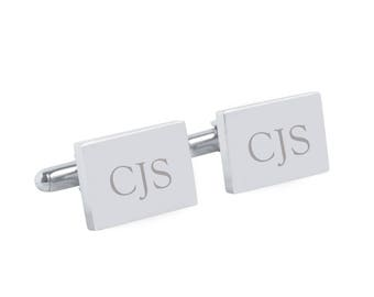 Classic Monogram - Engraved personalized rectangle silver cufflinks - Groom, Christmas, Fathers Day, Valentine gift