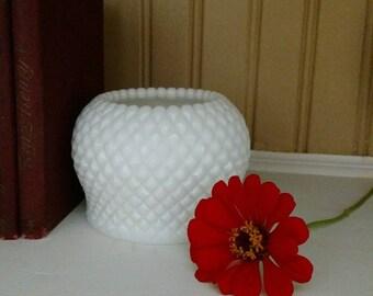 Vintage Milk Glass English Hobnail Ivy Rose Bowl by Westmoreland Glass
