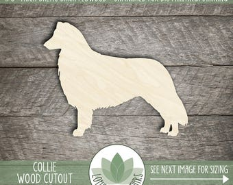 Wood Collie Dog Cut Out Shape, Unfinished Wood Collie Laser Cut Shape, DIY Craft Supply, Many Size Options, Blank Wood Shapes