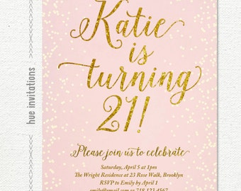 blush pink and gold glitter 21st birthday invitation, digital printable birthday party invite, confetti birthday celebration 5x7 jpg or pdf