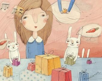 Illustration, Princess Dreams, Gifts, Holiday, Bunny, Pink and Blue, Wall Art, Original Artwork