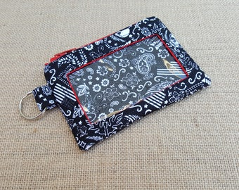 Flags and Skulls Small ID Wallet / Keychain ID Wallet / ID Holder