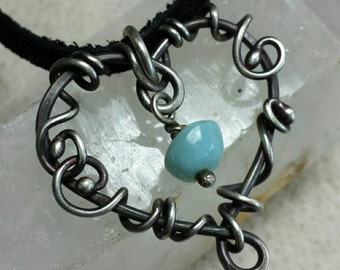 Big Heart  Necklace - Antiqued Sterling Silver and Blue Amazonite Gemstone - Wire Wrapped With Fine Silver -  Handmade
