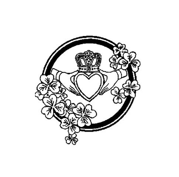 Celtic Claddagh Symbol Rubber Stamp