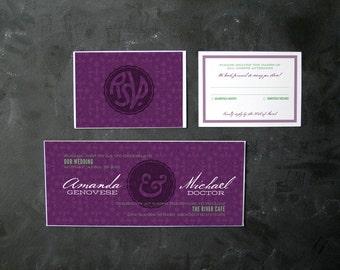 Royally Lavish Purple and Green Wedding Invitations (Prince Edward and Wallis Simpson)