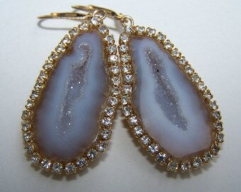 Tabasco geode Geode,bezel with Swarovski crystals, 14k goldfill leverback, earrings