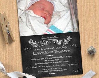 Chalkboard Sip and See Photo Baby Shower Invitation; Printable, Evite or Printed (US Only) Invitations