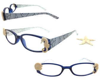 Women's Blue and White 1.50 Strength Beach Themed Reading Glasses with a Hand-Applied Seashell and Seahorse Embellishment