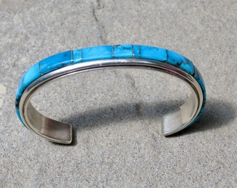 Vintage Native American Jewelry, Navajo Turquoise, Turquoise Bracelet, Turquoise Jewelry, Turquoise Cuff, Channel Inlay, Navajo Jewelry,