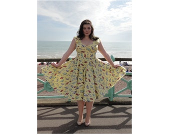1950s style Car Dress | Swing Dress | Hot Rod Route 66 | 50s Pinup Clothing | Retro | Rockabilly dress | Sizes 6 - 26 | Plus size